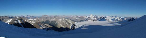 Panorama of Lyell Icefield. Click to view large size.