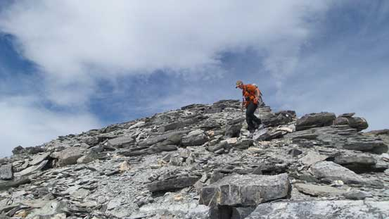 Vern descending from the false summit