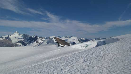A lot of crevasses on Lyell Icefield