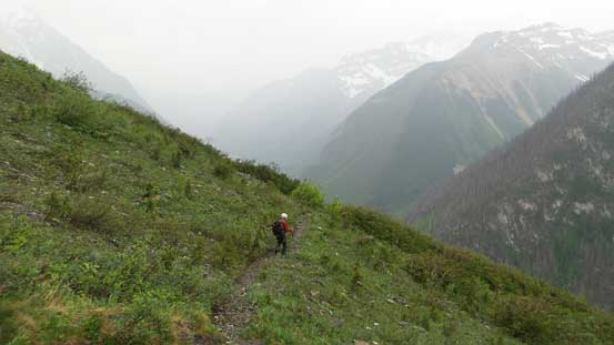 Descending the trail in rain