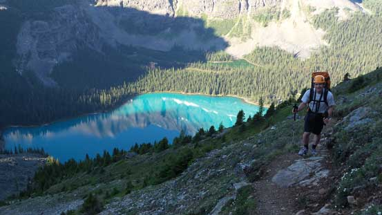 Ferenc coming up Wiwaxy trail, with Lake O'Hara behind