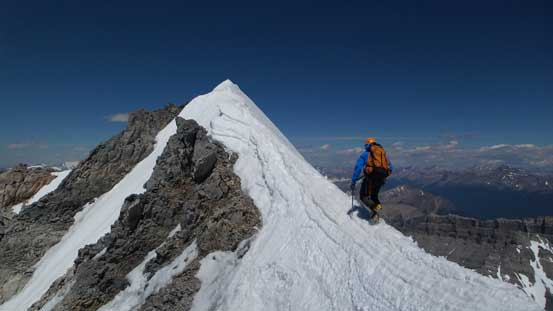 Ferenc on the last snow arete leading towards the summit