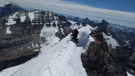 Ben ascending onto the arete