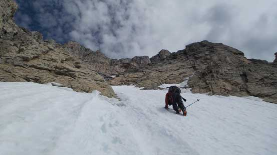 Ben down-climbing snow