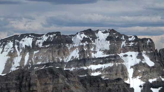 The west face of Mt. Lefroy looks awfully dry