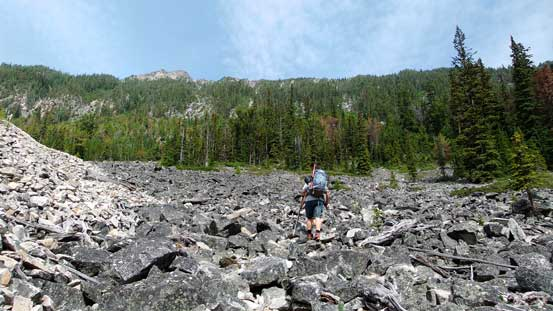 Now came that boulder field. Thankfully there's a path through it
