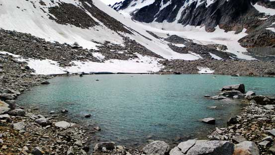 This is the smaller, but higher glacial lake