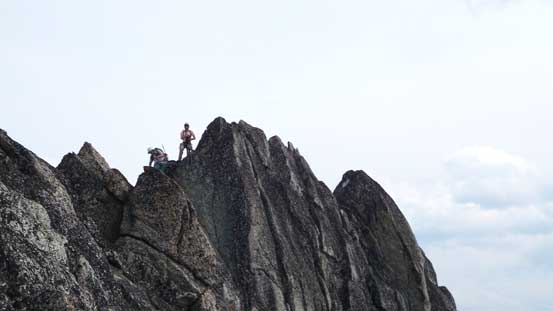 Tricky down-climbing from the false summit