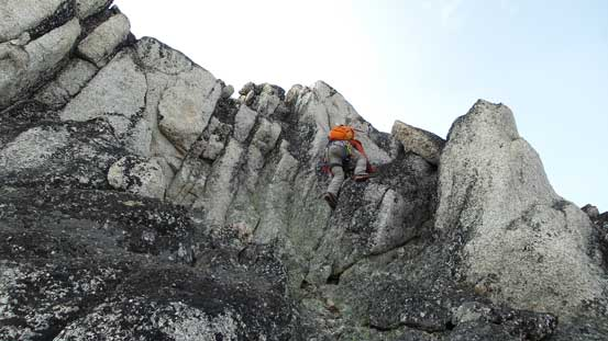 And then, tricky down-climbing from the false summit.