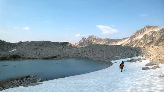 Walking around the uppermost lake on a snow field