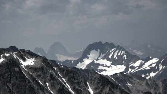 The mighty Bugaboo Spire rises behind Taurus Mountain