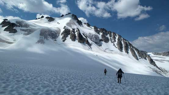 Marching across the glacier, with North Star Peak behind