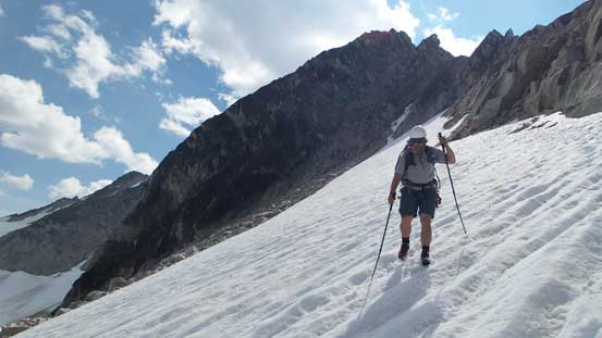 Eric descending the upper snowfield