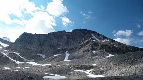 Looking back at the E. Face of Carmarthen Peak