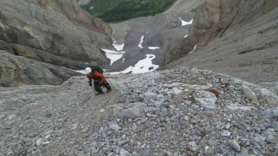 Ben slogging up scree