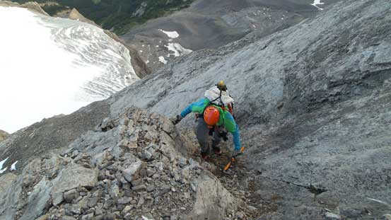 Vern ascending the typical terrain on this route