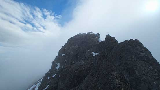 Vern ascending the last few meters to the true summit
