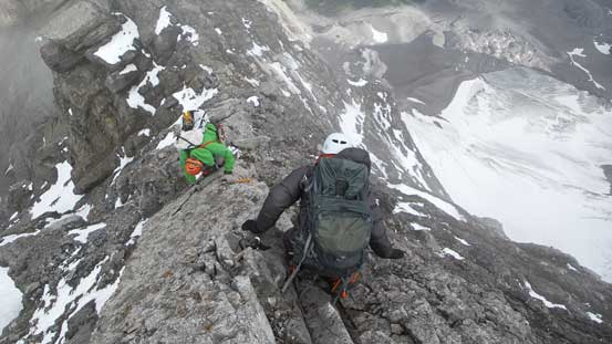 Descending the upper west ridge. Lots of care was required