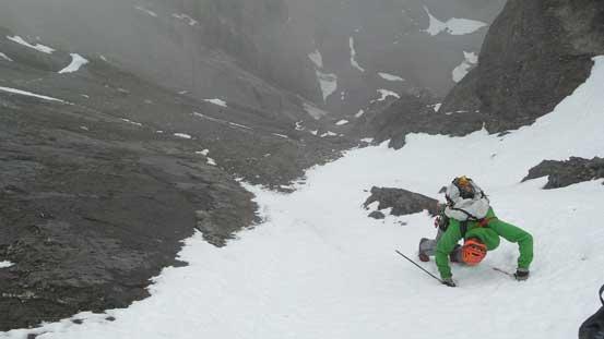 Vern down-climbing snow