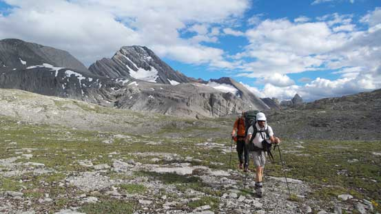 Hiking back across South Burstall Pass
