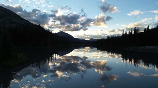 "Dusk at ""Mud Lake"" near the Burstall Pass trail-head. Long day..."