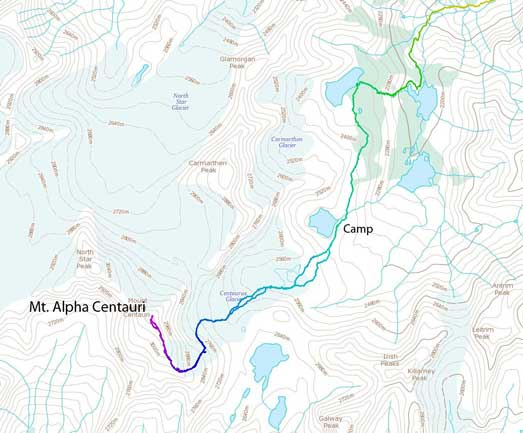 Mt. Alpha Centauri ascent route from Welsh Lakes