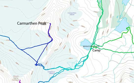 Carmarthen Peak ascent route
