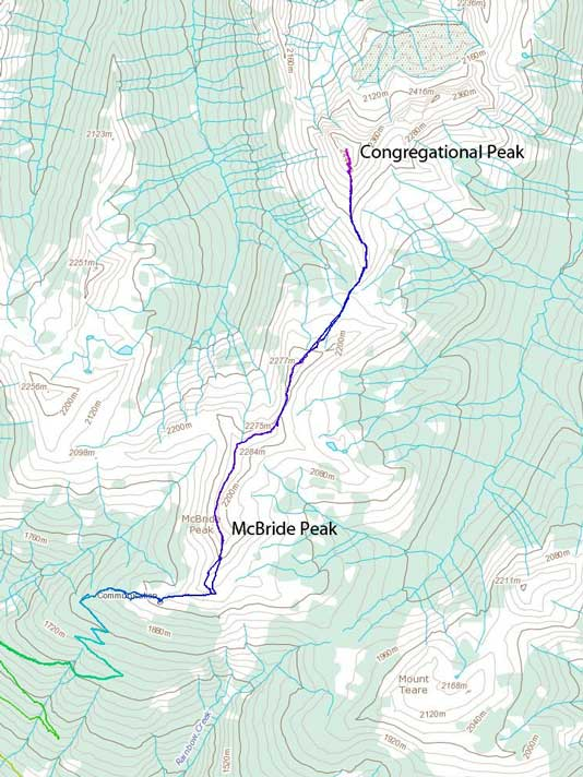 The traverse route from McBride Peak to Congregational Peak