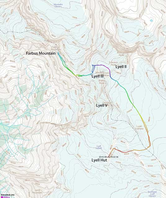 Farbus Mountain ascent route from Lyell Hut over Lyell II/III col
