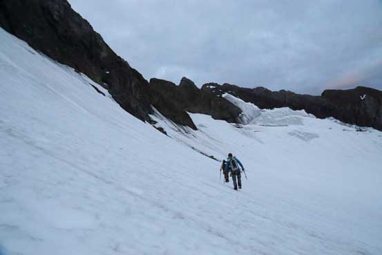 Traversing on the glacier bench after ascending the nasty ice