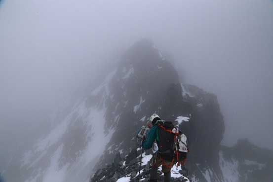Vern and me starting the summit ridge traverse. Photo by Ben