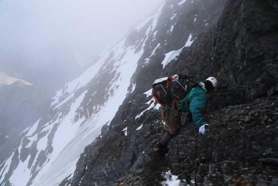 Me traversing around that crux pinnacle. Photo by Ben