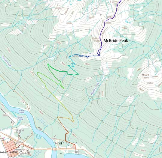 McBride Peak ascent route