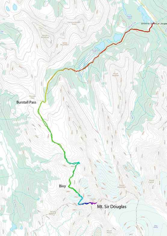 Approach and ascent route for Mt. Sir Douglas via W. Ridge