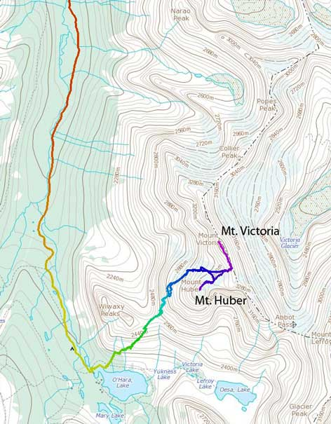 Ascent route for Mt. Victoria and Mt. Huber