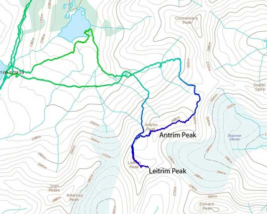 Antrim Peak and Leitrim Peak. (GPS Track recorded by Ben so not my ascent route)
