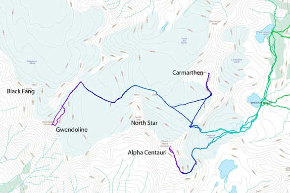 Ascent routes for Gwendoline Mountain and peaks nearby from Welsh Lakes