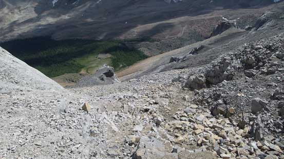 Looking down the scramble route. Typical terrain