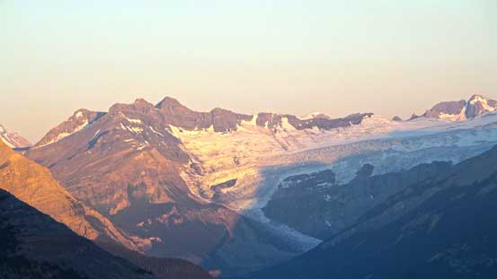 Alpenglow on Division Mountain and Lyell Icefield
