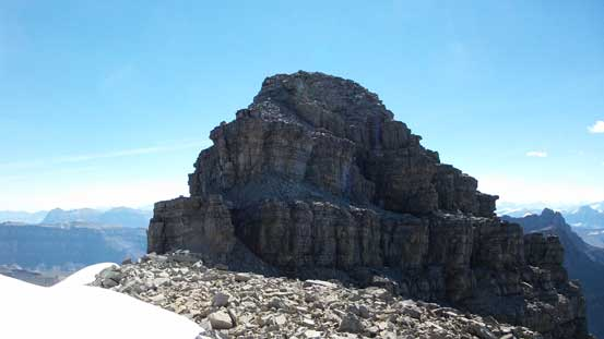 The final summit tower. Another 4th class band leading to the final rock wall - the crux.