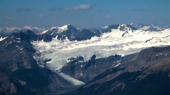 Kemmel and Lens Mountains rise behind the South-east Lyell Glacier