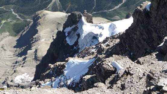 Some small patches of glacier on the steep NE Face