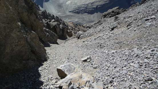 Descending the loose upper gully