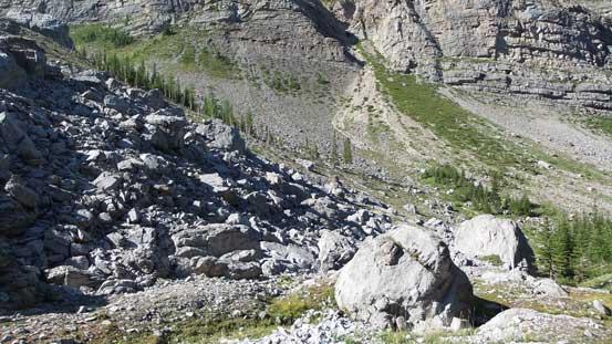Entering a boulder field