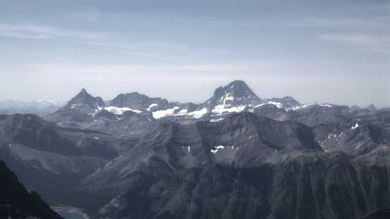 Mt. Assiniboine with Eon Mountain and Aye Mountain to its left