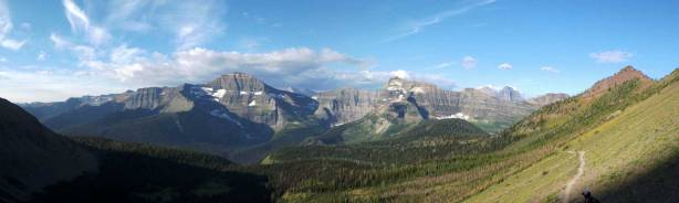 A panorama view of the peaks in GNP, MT, from partway up Carthew's shoulder