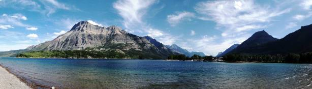 Panorama of Waterton Lake. Click to view large size.