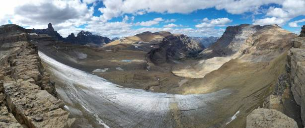 Panorama from the ridge. In the foreground is officially known as Murchison Icefield - more like a permanent ice patch now