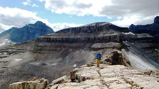 Vern hiking on the ridge. The unnamed peak behind