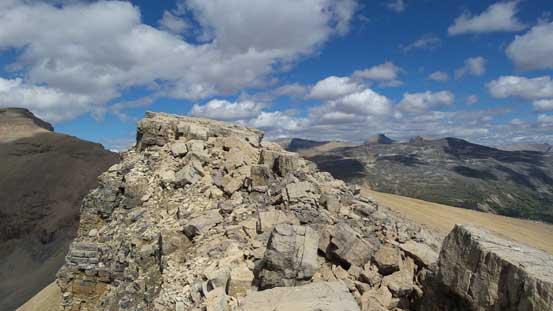 Broken terrain on the ridge